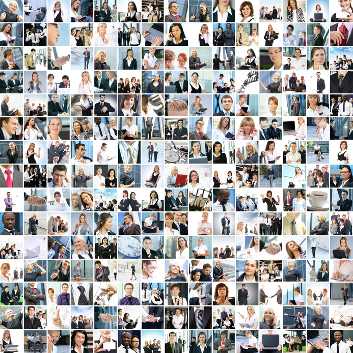Large collage of business images with young and happy people